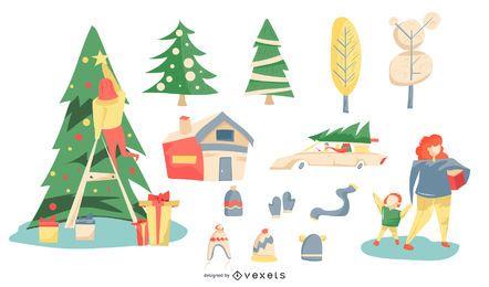 Coleção de vetores coloridos de Natal