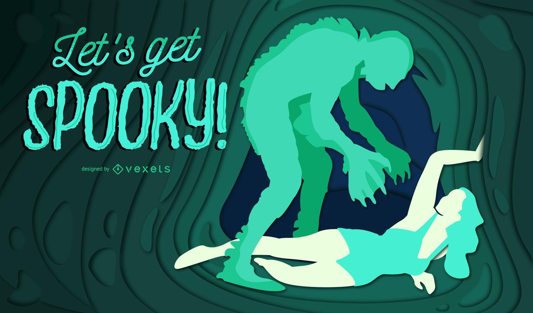 Ilustração assustadora de halloween com recorte de papel