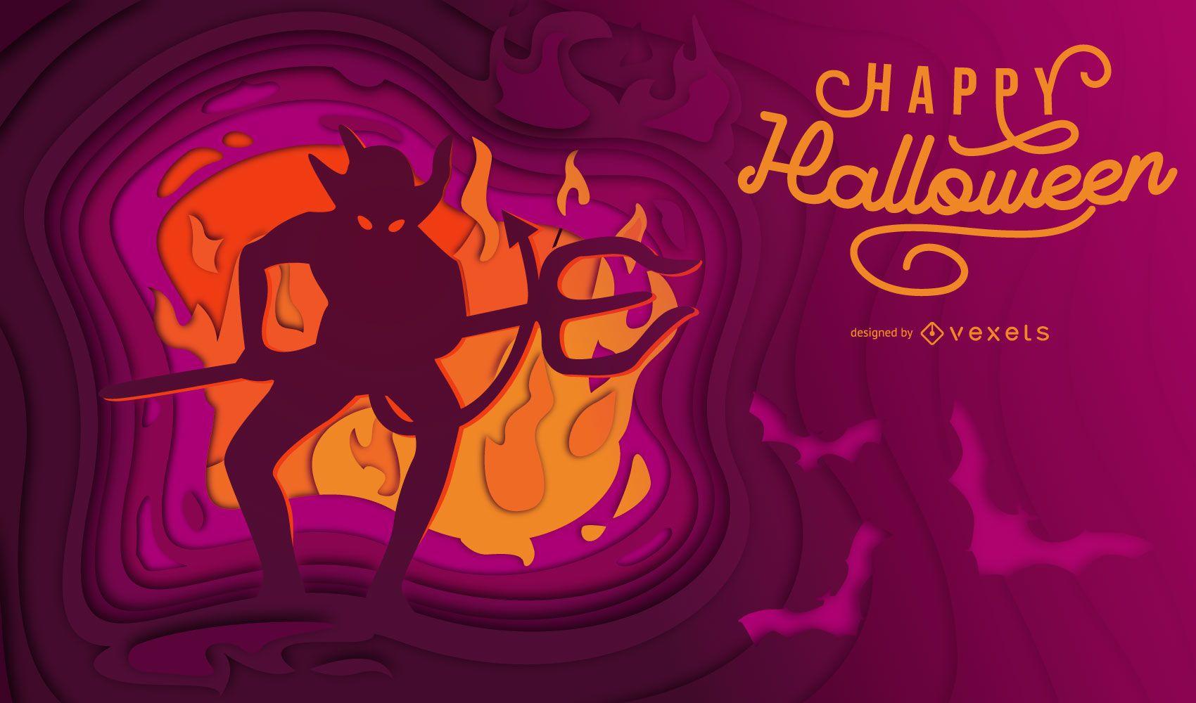 Ilustração do Dia das Bruxas com corte de papel do diabo