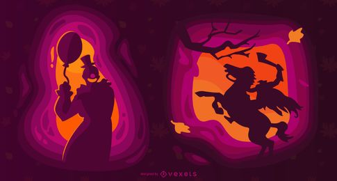 Ilustración de papercut de criaturas de Halloween
