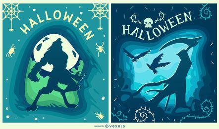 Conjunto de banners de criaturas de Halloween cortadas em papel