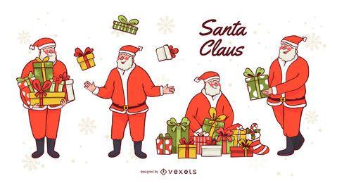 Conjunto de vectores de regalos de santa claus