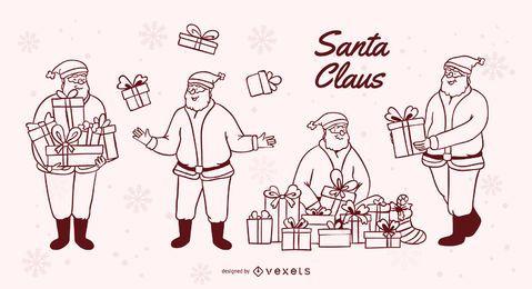 Conjunto de trazos de regalos de santa claus