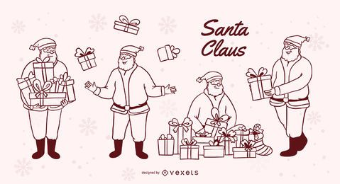 Santa claus gifts stroke set