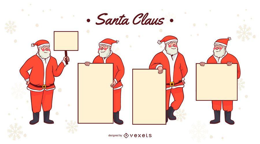 Santa Claus Sign Vector Set