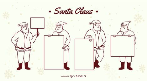 Santa claus signs stroke set