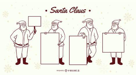 Weihnachtsmann Zeichen Strich gesetzt