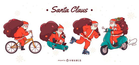 Santa Claus vehicles character set