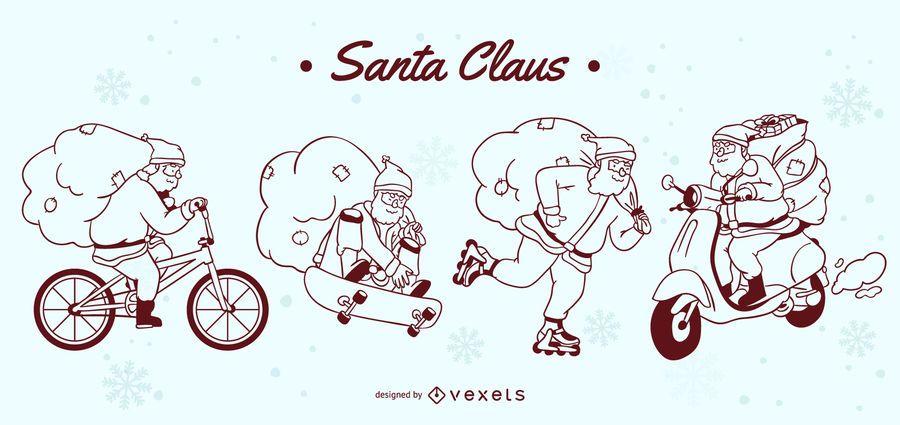 Santa vehicles stroke character set