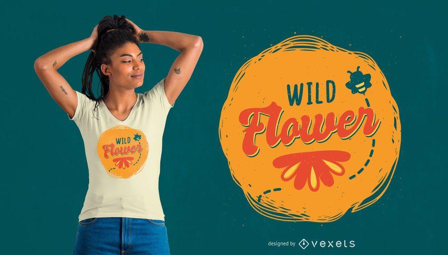 Diseño de camiseta de flores silvestres