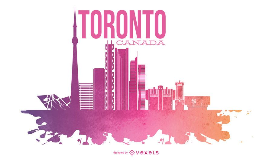 Toronto Watercolor Skyline Design