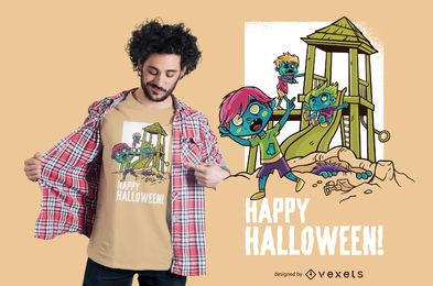 Halloween-Spielplatz-T-Shirt Design