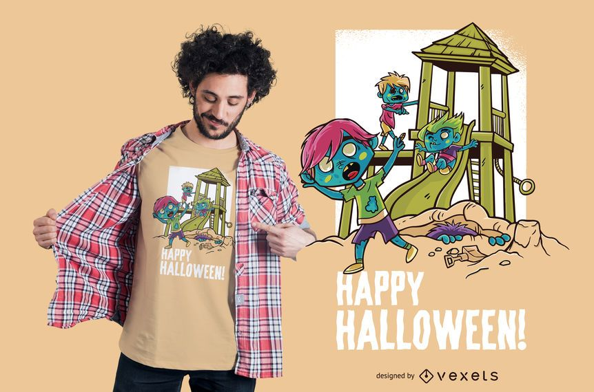 Halloween-Spielplatz-T-Shirt Design