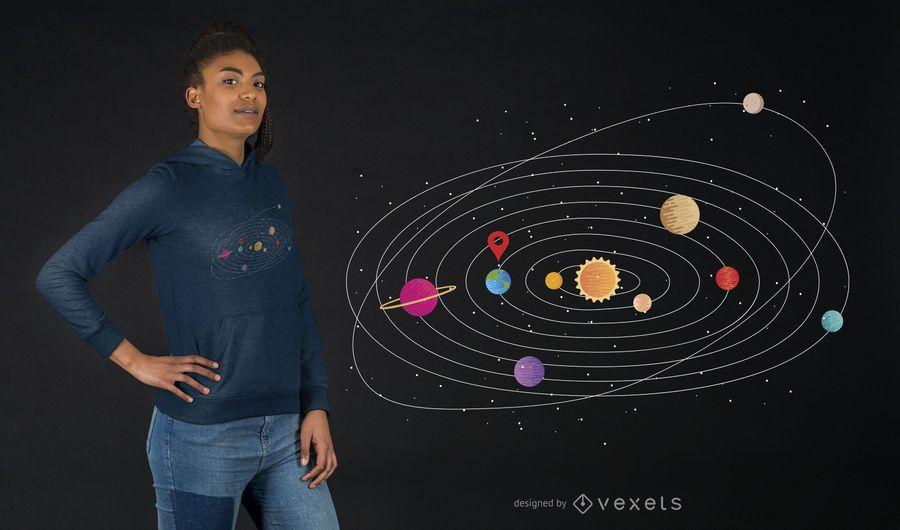 Diseño de camiseta del sistema solar