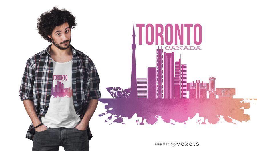 Design de t-shirt do horizonte de Toronto Canadá