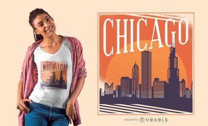 Diseño de camiseta del horizonte de Chicago