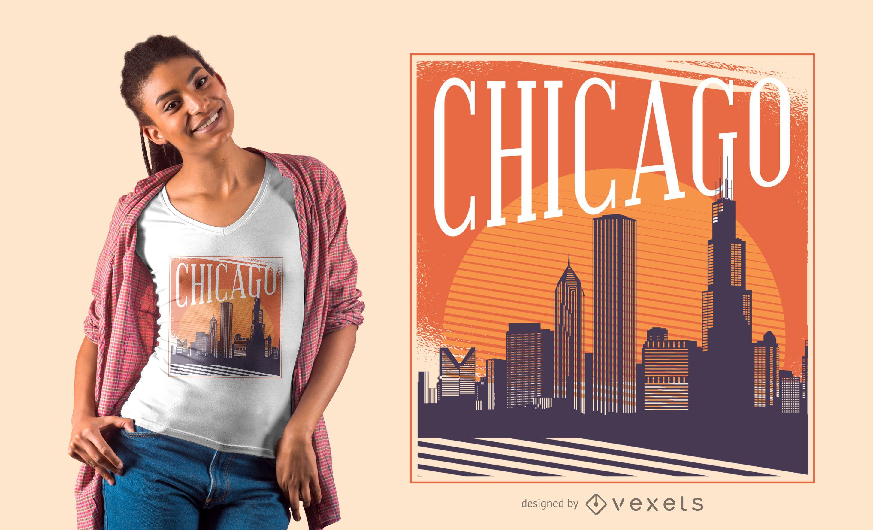 Design de camisetas do horizonte de Chicago
