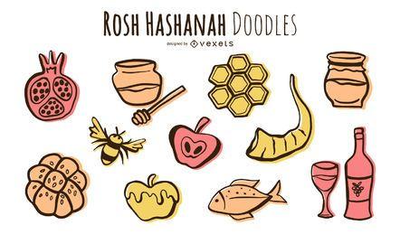 Rosh Hashaná doodle conjunto de elementos