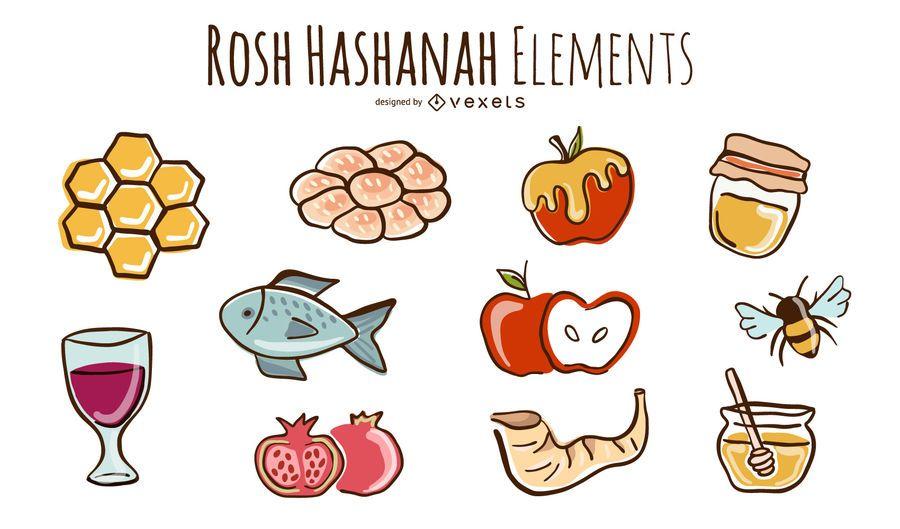 Rosh Hashanah doodles set