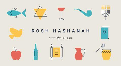 Rosch Haschana flache Elemente