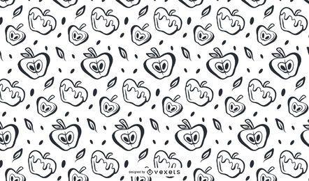 Diseño de patrón de manzanas dibujadas a mano