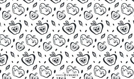 Hand drawn apples pattern design