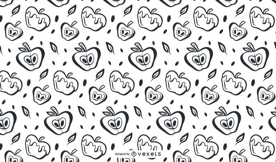 Hand drawn apples pattern design