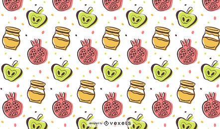 Rosh Hashaná padrão colorido