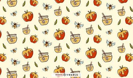 Äpfel und Honigmusterdesign