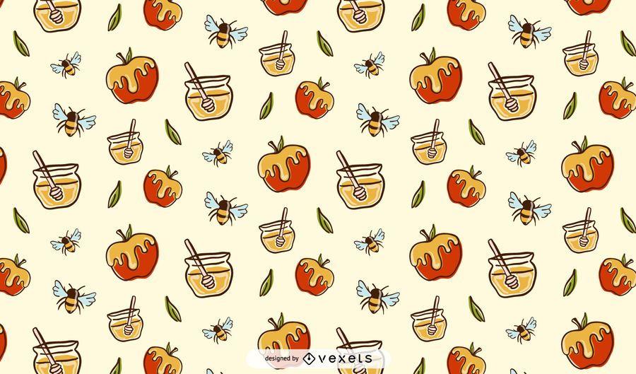 Diseño de patrón de manzanas y miel.