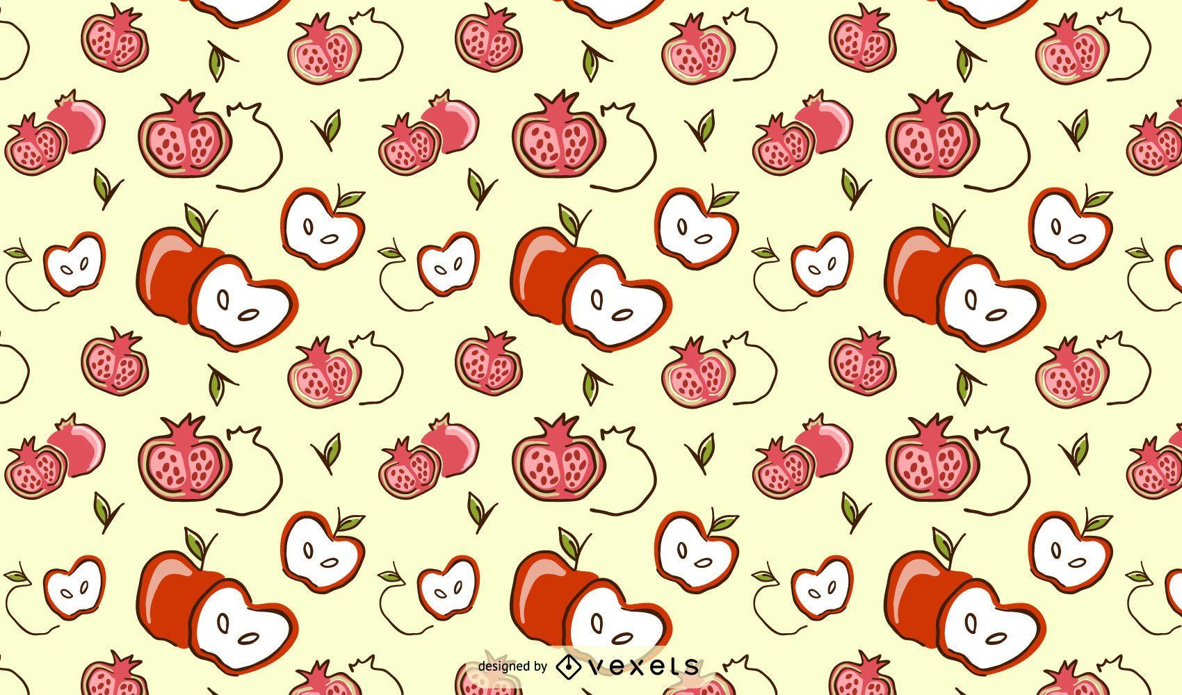 Apple pomegrate pattern design