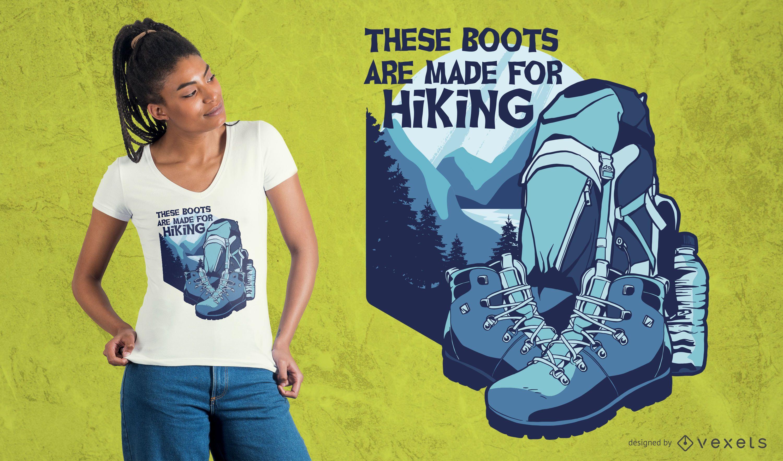 Botas para design de camisetas de caminhada