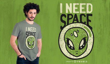 Necesito diseño de camiseta alienígena espacial