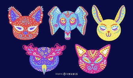 Conjunto de Design de animais coloridos Alebrije
