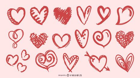 Colección de formas de corazón de pincel