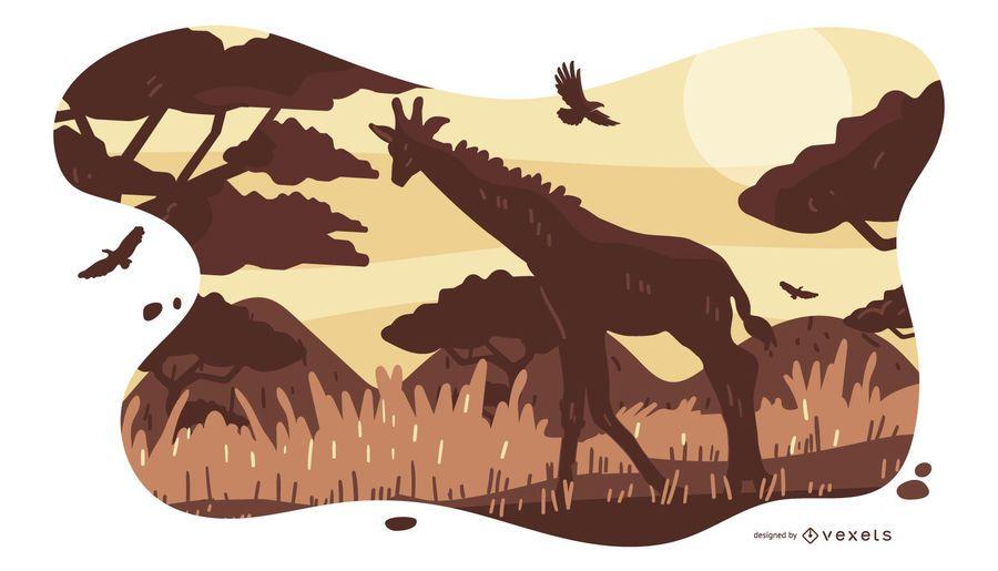Diseño de composición de Safari Animal Africa