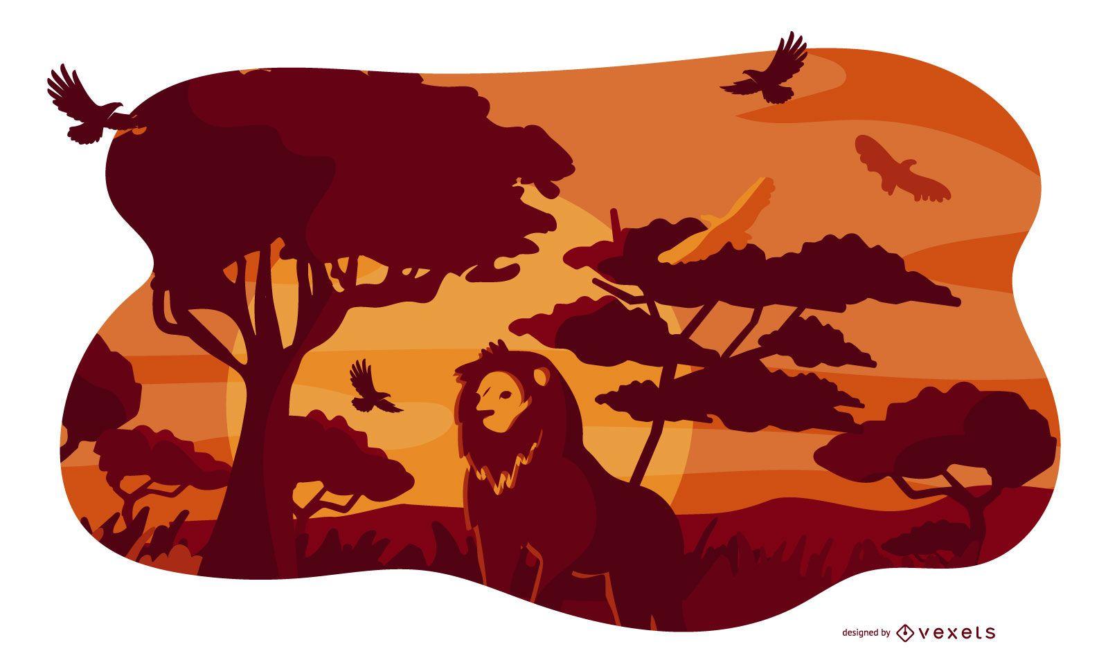 Composición Animal Safari Savanna Lion