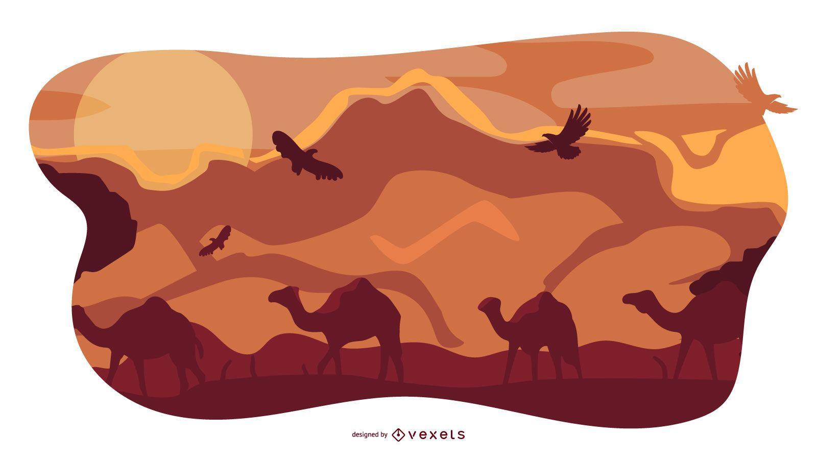 African Animal Landscape Composition Design