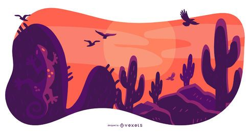 Desert Landscape Nature Composition Design