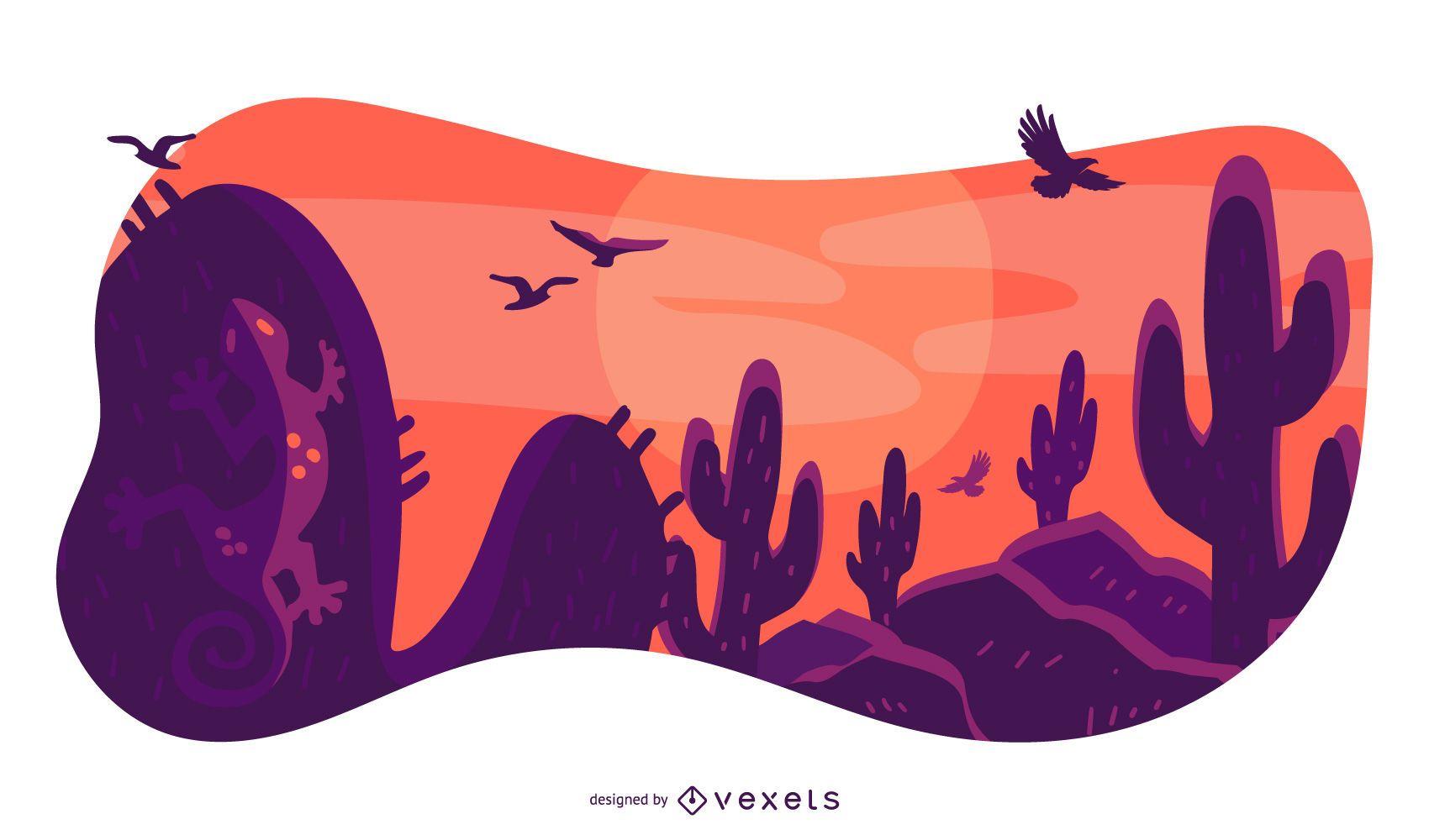 Desert Landscape Nature Composition Design