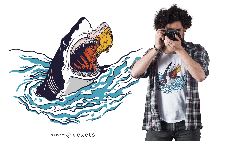Diseño de camiseta de pizza de tiburón.