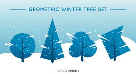 Conjunto de árvore de inverno geométrico