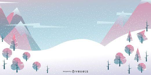 Fundo geométrico da paisagem de inverno