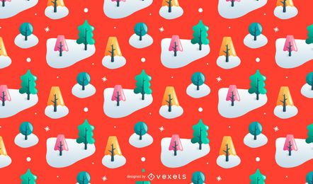 Colorful trees Christmas pattern