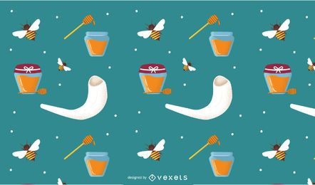 Rosh Hashanah elements pattern design