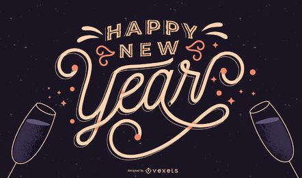 Banner com letras de feliz ano novo