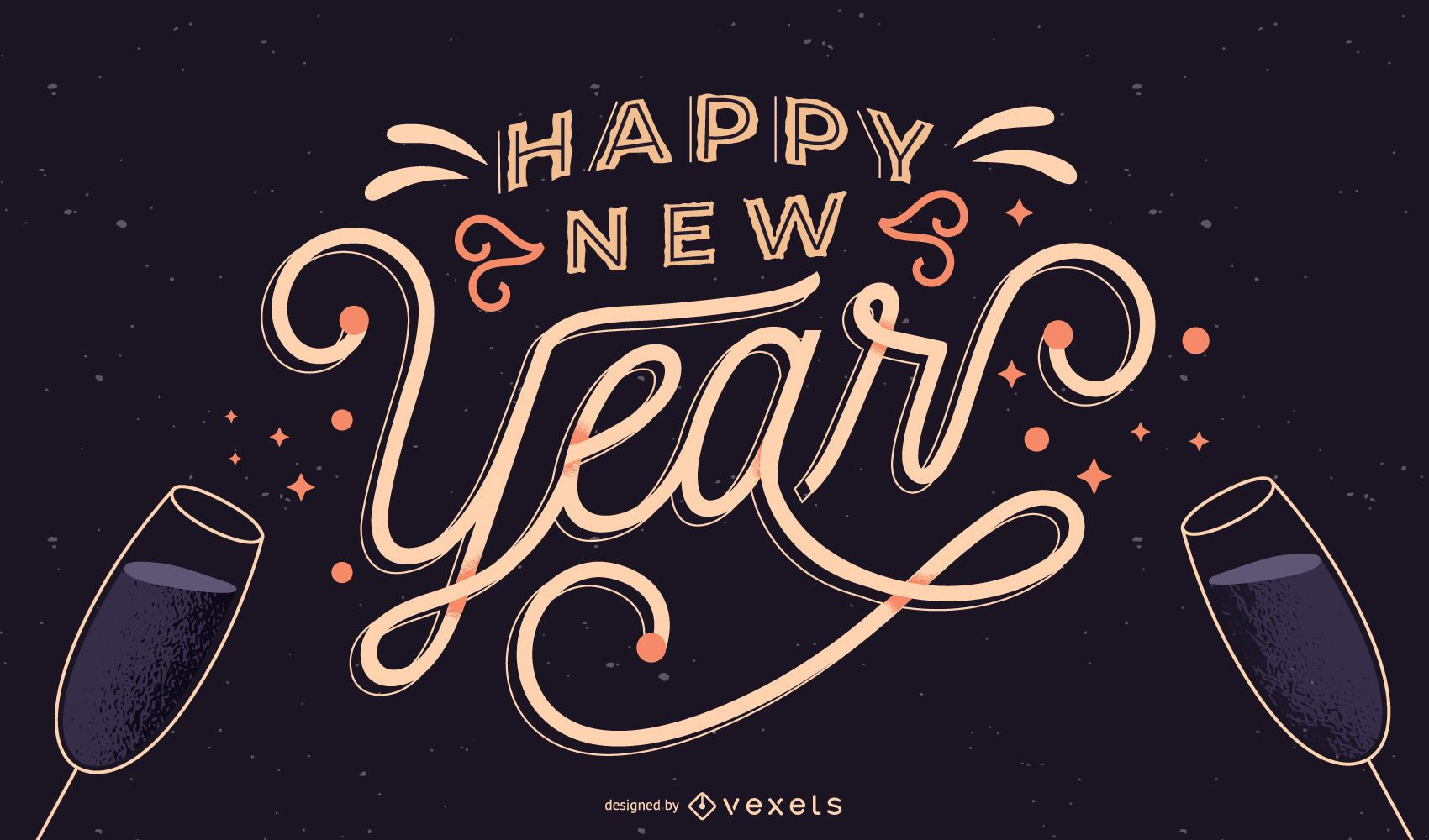 Happy New Year Lettering Banner