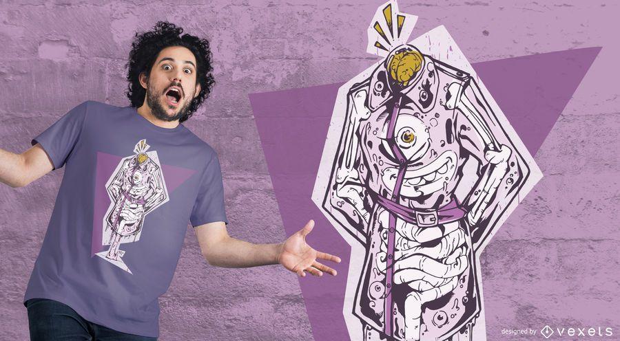 Diseño de camiseta escudo monstruo