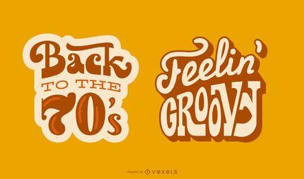 Conjunto de faixas de citação com letras retrô dos anos 70