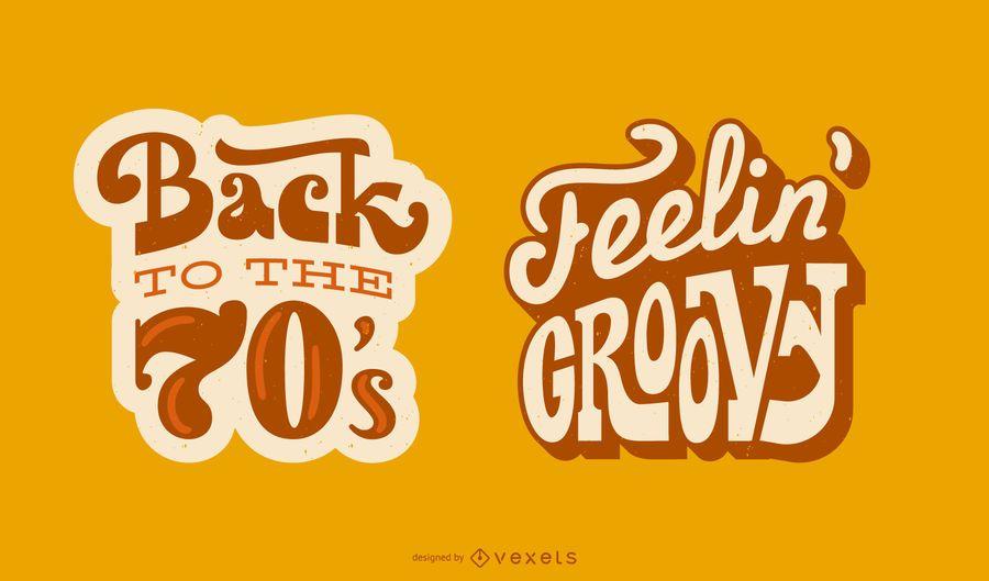 Conjunto de banner de cita de letras retro de los años 70